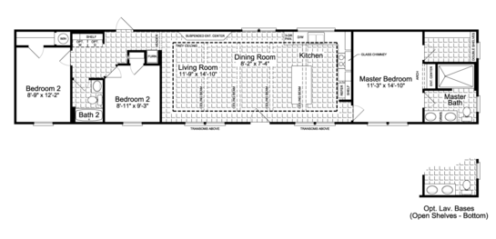 Floor Plan:The Santa Fe FF16763G Floor Plan - Also available as an 18' wide for 1,330 square feet