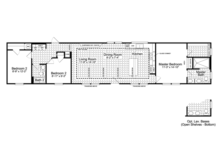 2 bedroom 2 bath mobile home floor plans for Santa fe floor plans