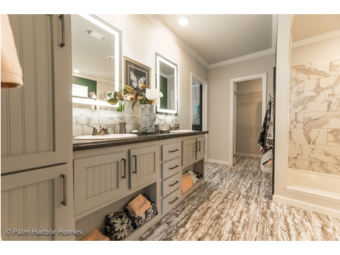 Dove gray cabinets & lighted mirrors in master bath - the Vintage Farmhouse Model FT32643C with 3 Bedrooms, 2 Baths and 1,984 Sq. Ft. Exterior Dimensions: 31 x 64. Other layouts available from Palm Harbor Homes.  See Floor plan options.