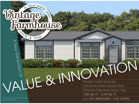 The Vintage Farmhouse Model FT32643C with 3 Bedrooms, 2 Baths and 1,984 Sq. Ft. Exterior Dimensions: 31 x 64. Palm Harbor Homes