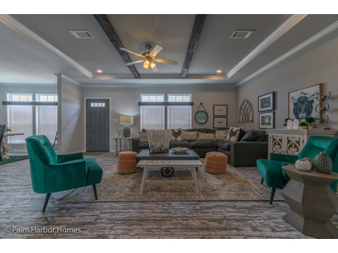 Living area in the Vintage Farmhouse Model FT32643C with 3 Bedrooms, 2 Baths and 1,984 Sq. Ft. Exterior Dimensions: 31 x 64. Other layouts available from Palm Harbor Homes.  See Floor plan options.