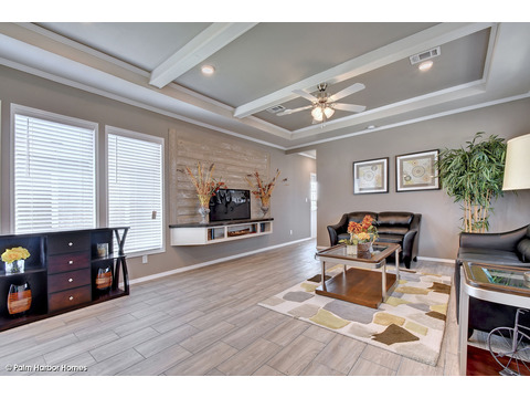 Living room, seen from front entrance - The Grand Haven FF16763H by Palm Harbor Homes