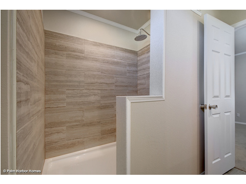 Huge walk-in shower in master bath - The Grand Haven FF16763H by Palm Harbor Homes