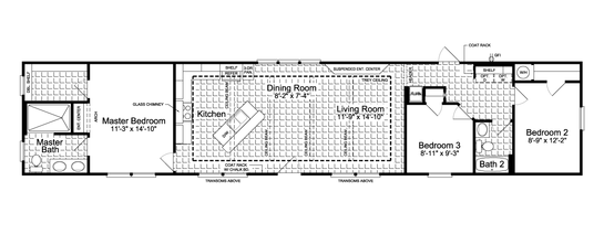 Floor Plan:The Grand Haven FF16763H Standard Floor Plan - 16' Wide