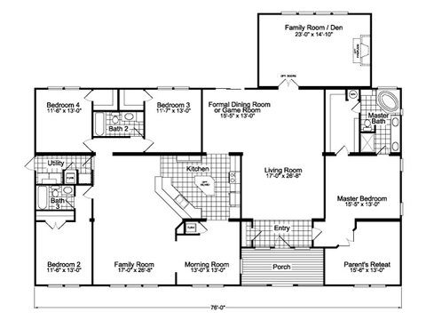 Flex Room - Family Room + Optional Family Room Facing Kitchen - The Gotham Flex SCYD76F8 by Palm Harbor Homes