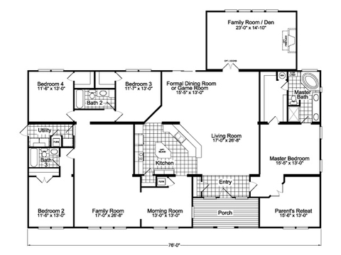 Flex Room - Family Room + Optional Living Room Facing Kitchen - The Gotham Flex SCYD76F8 by Palm Harbor Homes