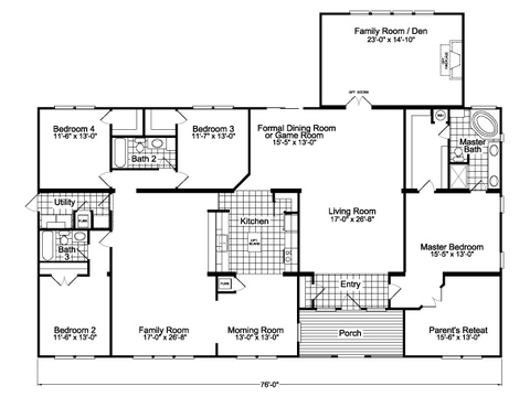Flex Space - Family Room + Standard Kitchen - The Gotham Flex SCYD76F8 by Palm Harbor Homes