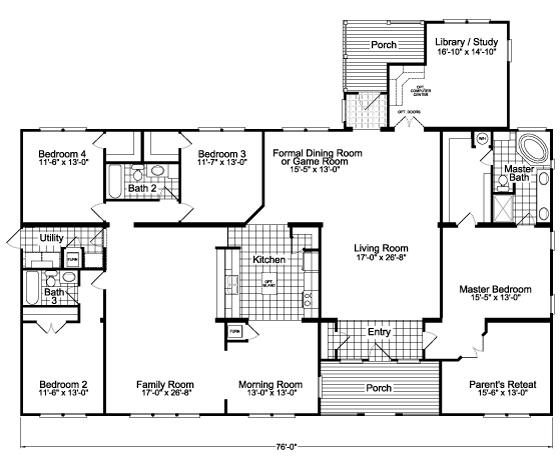 The gotham flex vr57764b manufactured home floor plan or for Standard house plans