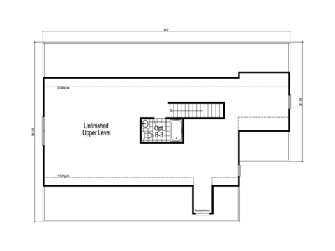 The Abilene - UNFINISHED Second Level Floor Plan - Square footage not included
