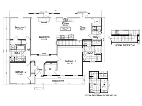 >The Abilene - First Level Floor Plan