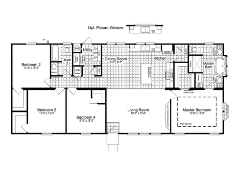 Alternative 28' wide version - The Urban Homestead II FT28644B Floor Plan (1,749 Sq. Ft.)