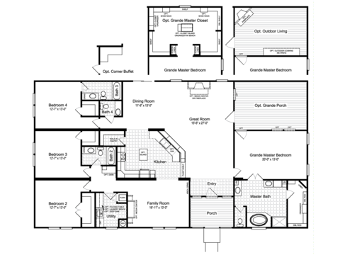 The Hacienda III VRWD76D3 Floor Plan with Opt. Grande Porch, Opt. Outdoor Living or Opt. Grande Master Closet