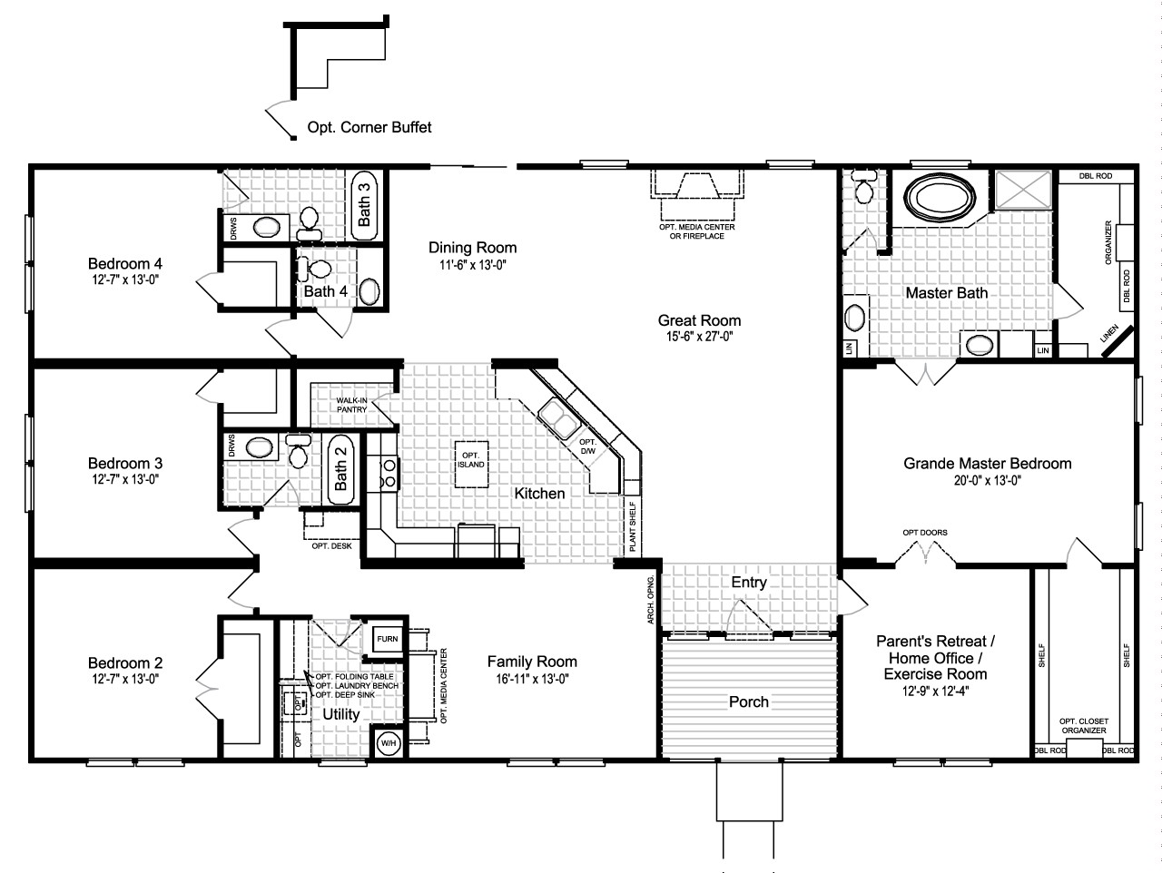 View The Hacienda III floor plan for a 3012 Sq Ft Palm Harbor – 5 Bedroom 3 Bath Mobile Home Floor Plans