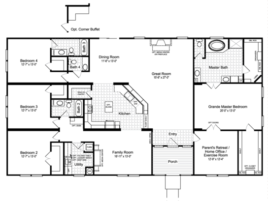 Floor Plan:The Hacienda III VRWD76D3 Standard Floor Plan