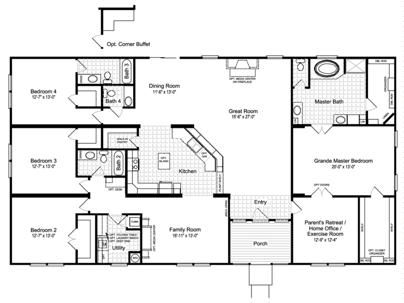 The hacienda iii vrwd76d3 or 41764a home floor plan Hacienda homes floor plans