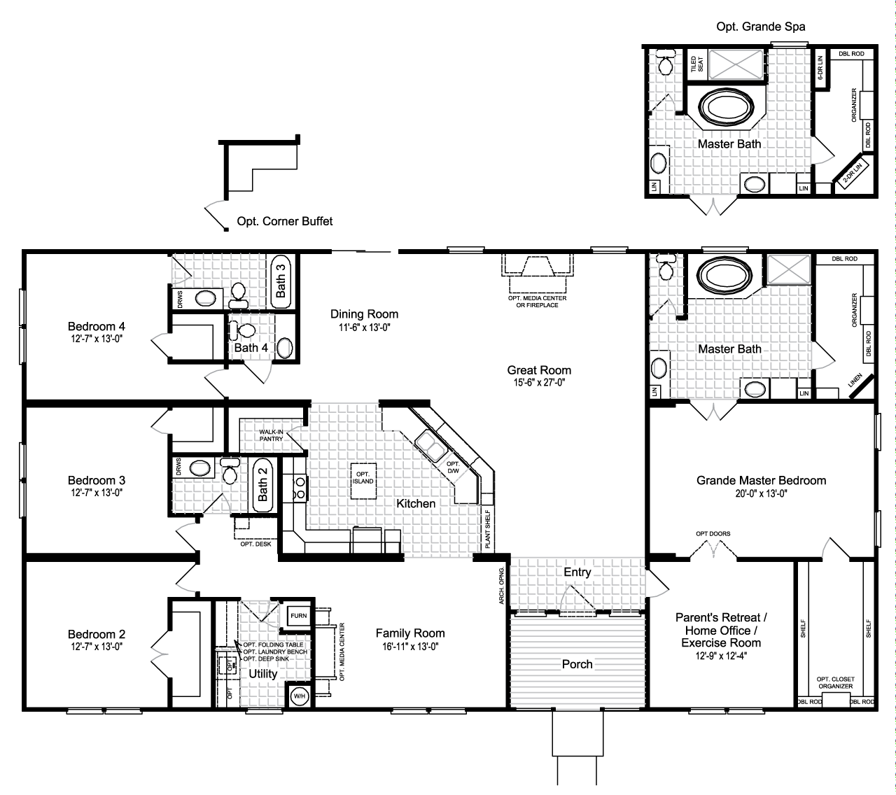 View the hacienda iii floor plan for a 3012 sq ft palm harbor manufactured home in bryan texas for Commercial bathroom square footage