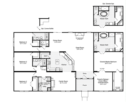 The Hacienda III VRWD76D3 Standard Floor Plan with Opt. Grande Spa