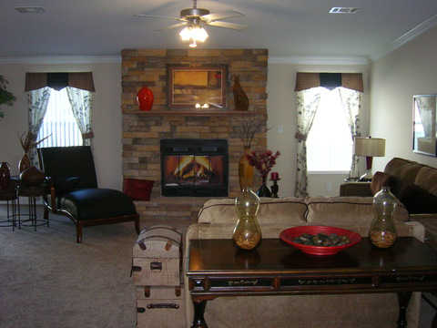 Living room with Rock Fireplace - Sierra III X4646J by Palm Harbor Homes