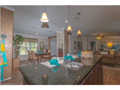 Another view over the huge kitchen island  - The Yukon KHT368A2 by Palm Harbor Homes