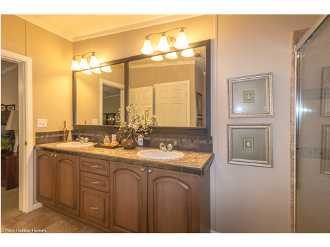 The vanity and mirrors are perfect in The Pelican Bay - Palm Harbor Manufactured Home in Florida - 3 Bedrooms, 2 Baths, 2,022 Sq. Ft. - 30' x 68'