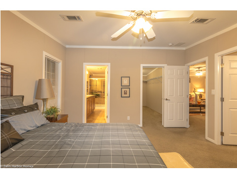 The view of the master suite shows the location of the closet, the master bath and the sitting area or retreat in The Pelican Bay - Palm Harbor Manufactured Home in Florida - 3 Bedrooms, 2 Baths, 2,022 Sq. Ft. - 30' x 68'