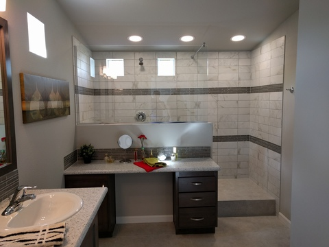 Optional tiled shower in master bath - The Frontier by Palm Harbor Homes