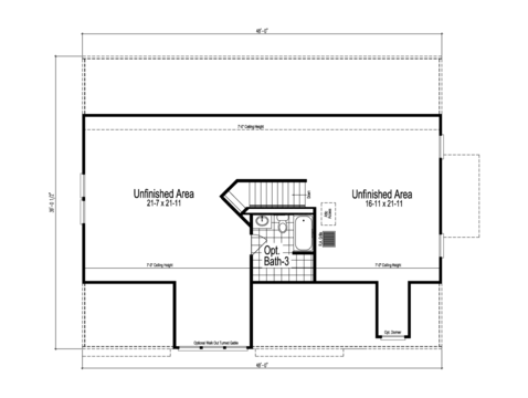 The Easton -  UNFINISHED Second Level Floor Plan - Square footage not included