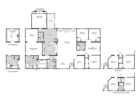 >The Evolution Flex VR57764C Floor Plan, 4 Bedrooms, 2 Baths, 3,366 Sq. Ft.
