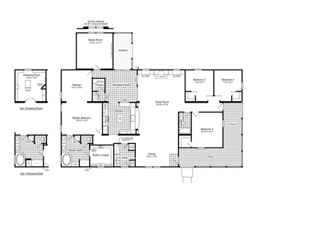 The Evolution Flex VR57764C Alternative Floor Plan with Wrap-around Porch, 4 Bedrooms, 2 Baths, 3,006 Sq. Ft.