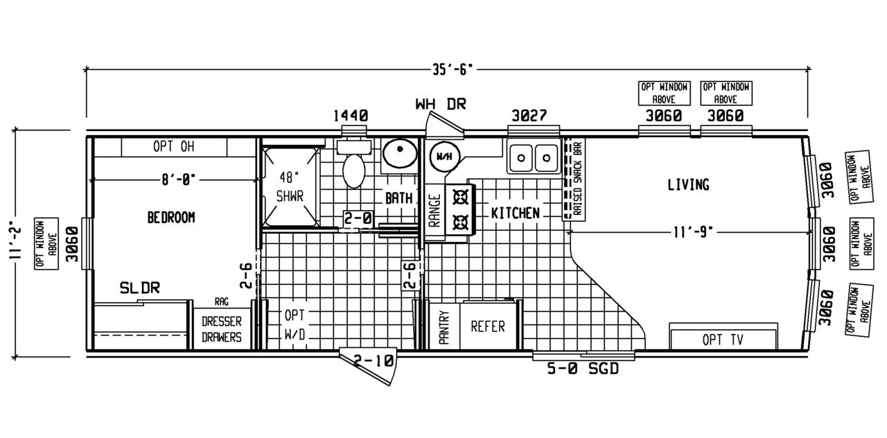 Model pm12351r park model rv floor plan for Rv park blueprints