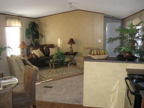 The Woodland I TLG264K8 living area. Picture of home by manufactured/modular builder Palm Harbor.