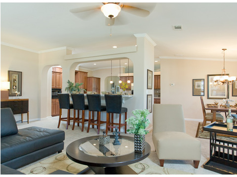 The open, flowing living areas in this particular model home provide for easy gracious living and entertaining. The La Linda SCWD68F8 by Palm Harbor Homes