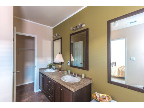 His and Hers vanities in the Master Bathroom in The Woodland II by Palm Harbor Homes - 3 Bedrooms, 2 Baths, 1,116 Sq. Ft.