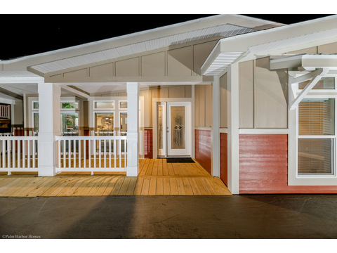 The La Belle IV in Florida offers a great porch entry and depth and character in its architectural design - La Belle IV X4769H or TL40764B 4 Bedrooms, 3 Baths, 2,847 Sq. Ft. triple wide manufactured home or modular home by Palm Harbor Homes