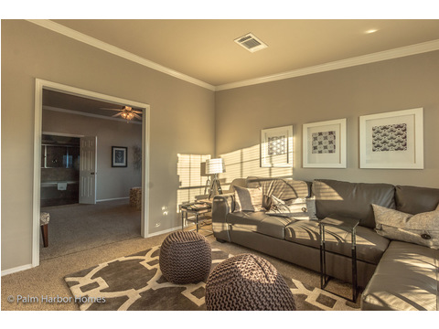 The Grande Master Bedroom suite is ENORMOUS!! Here, entering the Master Suite, is the sitting area that can be used as a parents' retreat, home office, or exercise room - Hacienda II by Palm Harbor Homes