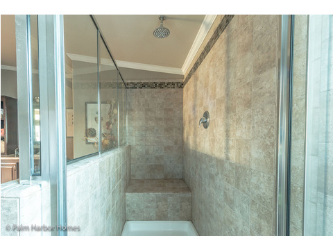 Walk-in shower in master bath - The Hacienda II by Palm Harbor Homes