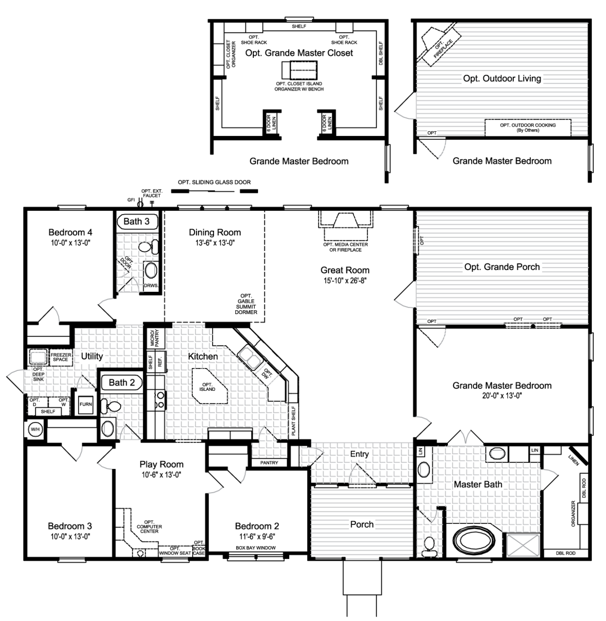 The hacienda ii vr41664a manufactured home floor plan or for Outdoor floor plan