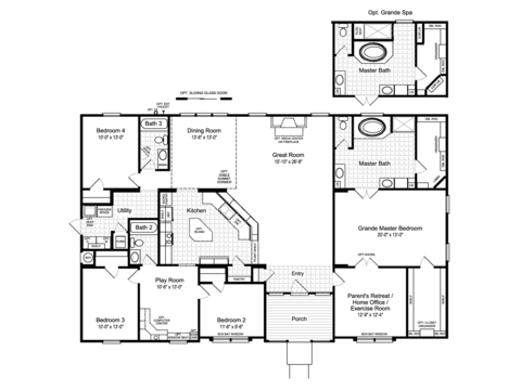 The Hacienda II VRWD66A3 Standard Floor Plan with Opt. Grande Spa