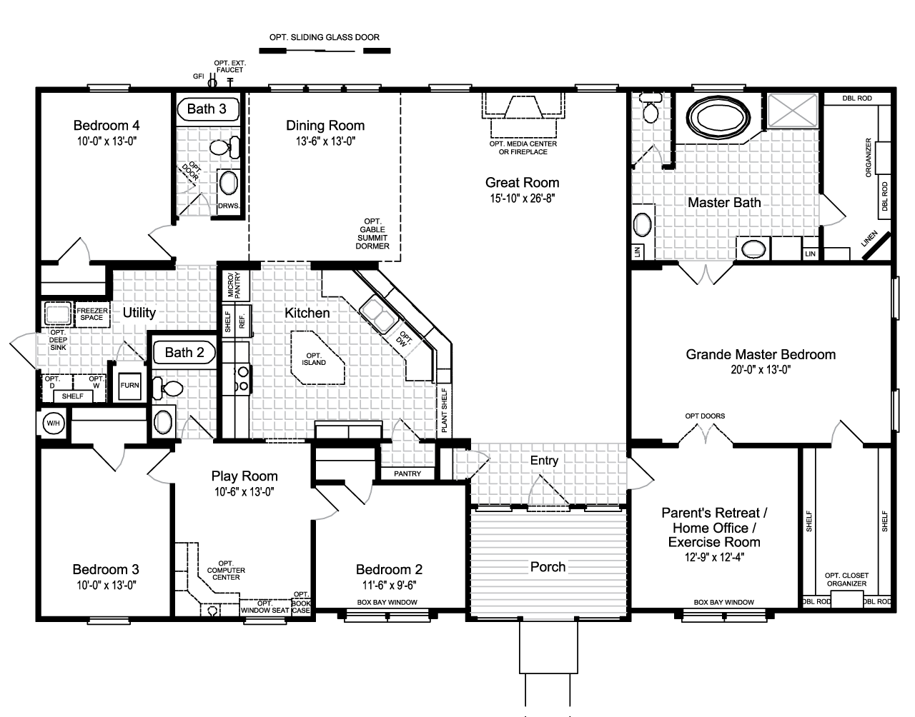 The hacienda ii vr41664a manufactured home floor plan or for 4 bedroom 3 bath floor plans