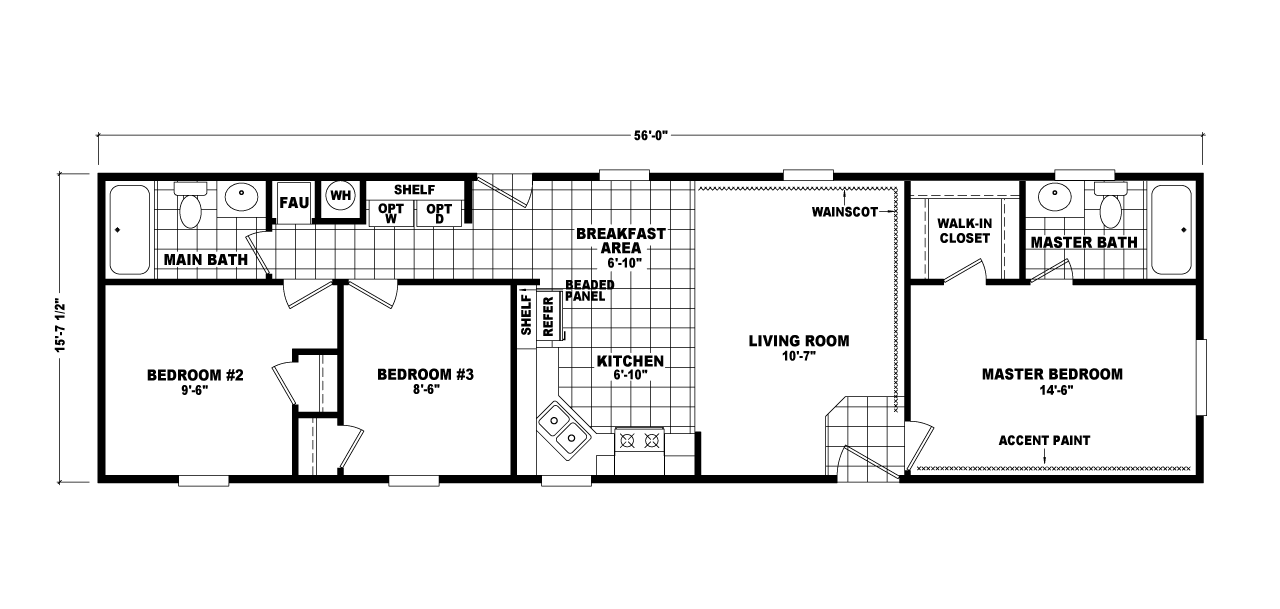 PS16563A Manufactured Home Floor Plan Or Modular Floor Plans