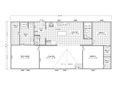 >Model VU28563U, 3 bedrooms, 2 baths, 1,493 sq. ft.