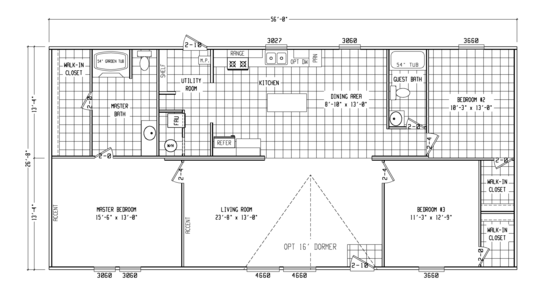 Floor Plan:Model VU28563U, 3 bedrooms, 2 baths, 1,493 sq. ft.