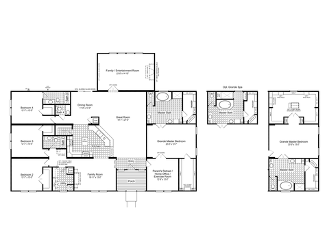 >The Hacienda III Flex with Flex Space used as Family/Entertainment Room, VR47764A Floor Plan, 4 Bedrooms, 3.5 Baths, 3,379 Sq. Ft.