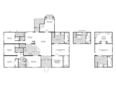 The Hacienda III Flex with Flex Space used as Family/Entertainment Room, VR47764A Floor Plan, 4 Bedrooms, 3.5 Baths, 3,284 Sq. Ft