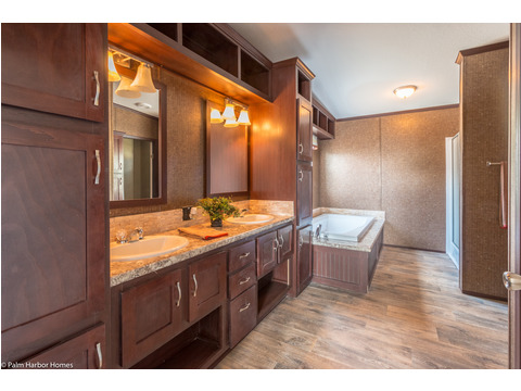 Optional Country Ranch Masterbath with canopy lighting and towel box - The Builtmore HPT476X5 by Palm Harbor Homes