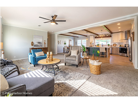 The living room of the Magnum home - a manufactured home by Palm Harbor Homes - www.palmharbor.com