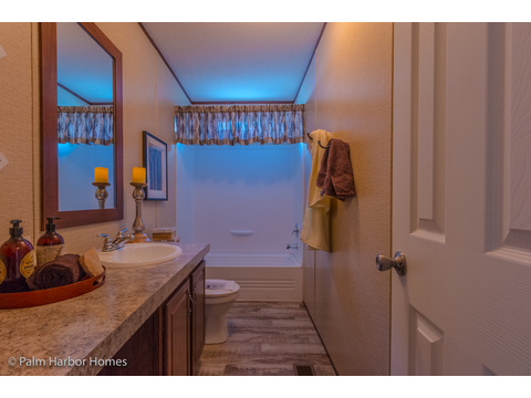 Secondary bathroom in the Velocity Model 32523V - a double wide manufactured home available from Palm Harbor Homes