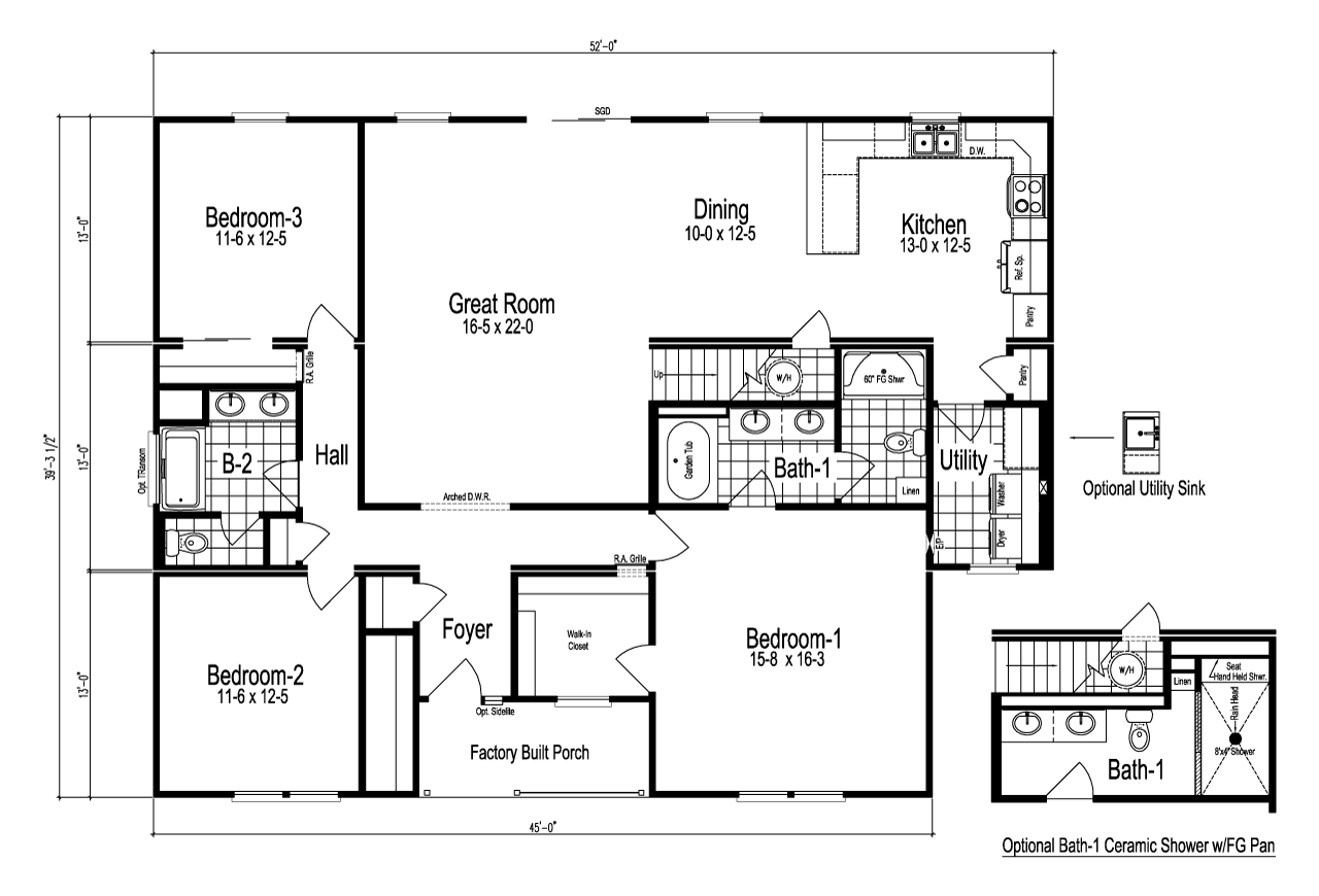 View the lacrosse floor plan for a 1950 sq ft palm harbor for Model home floor plans