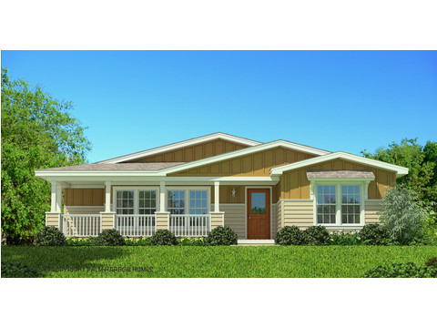The La Belle VR41764D artist's rendering - lap siding with vertical board & batt exterior, optional woodgrain front door