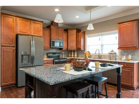Beautiful island kitchen in the Greenbrier modular home is a Palm Harbor model built by Nationwide Homes. Beautiful full porch and 3 Bedrooms, 2 Baths, 1,978 Sq. Ft.